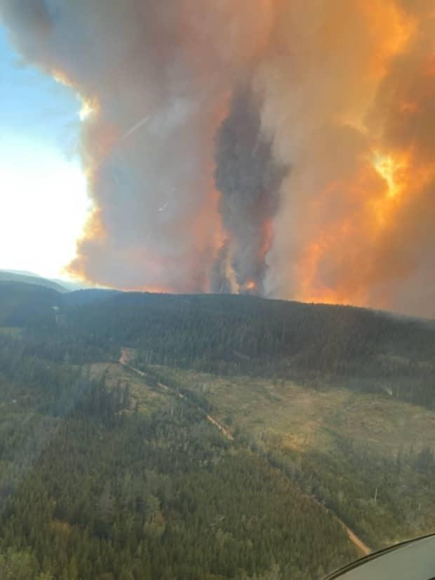 A shot of the wildfire at White Rock Lake northeast of Merritt, B.C., last weekend.  (B.C. Wildfire Service/Twitter - image credit)