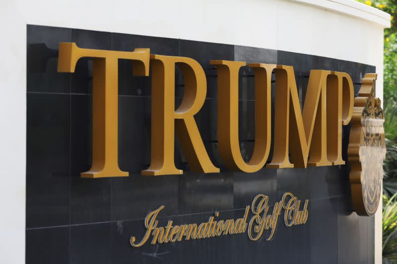 A sign is seen at the entrance of Trump International Golf Club in Dubai