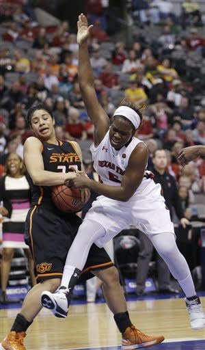 Oklahoma State guard Brittney Martin (22) pulls in a rebound against Texas Tech guard Christine Hyde (5) during the second half of an NCAA college basketball game in the Big 12 Conference tournament Saturday, March 9, 2013, in Dallas. Oklahoma State won 59-54. (AP Photo/LM Otero)