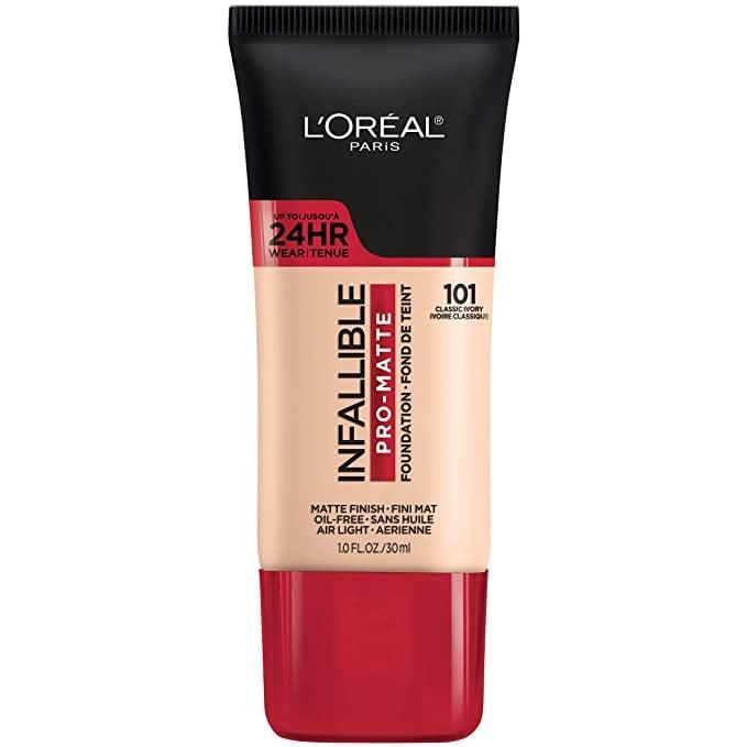 """<p>""""<span>L'Oreal Paris Infallible Pro-Matte Liquid Longwear Foundation</span> ($11) is my favorite drugstore product because it's a buildable foundation with full coverage. It's affordable and works for every skin type. They also offer a full range of colors, great for all complexions and shades. Since I work with a lot of women of color, I especially love the range of shades with a yellow undertone, which looks great on their skin because it creates an amazing brightening effect."""" - <a href=""""https://www.instagram.com/mugopus/"""" class=""""link rapid-noclick-resp"""" rel=""""nofollow noopener"""" target=""""_blank"""" data-ylk=""""slk:David Velasquez"""">David Velasquez</a>, celebrity makeup artist</p>"""