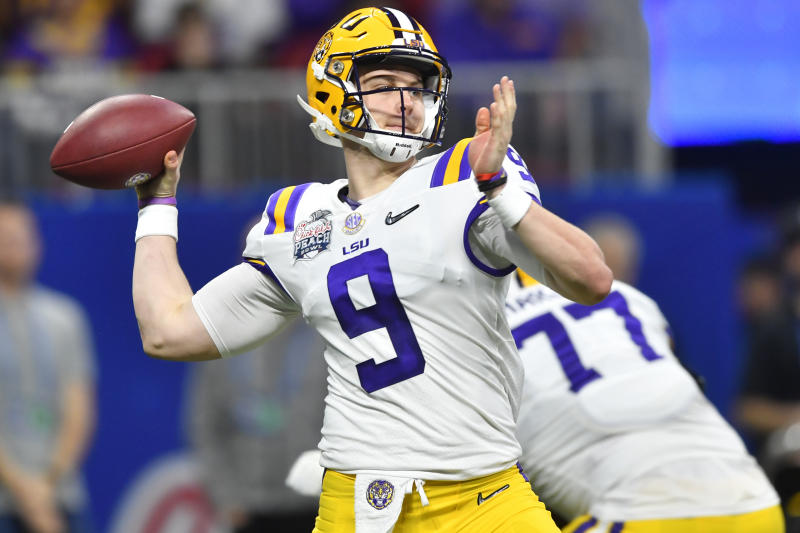 LSU quarterback Joe Burrow (9) throws against Oklahoma during the first half of the Peach Bowl. (AP)