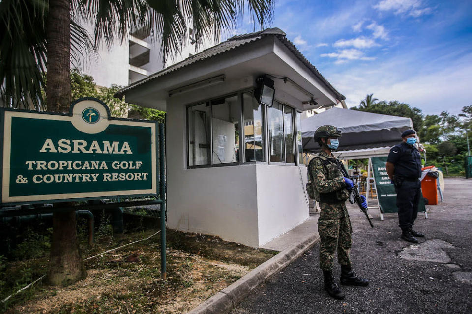 File picture of Armed Forces personnel and police guarding the Tropicana Golf and Country Resort's hostel in Petaling Jaya October 12, 2020. — Picture by Ahmad Zamzahuri