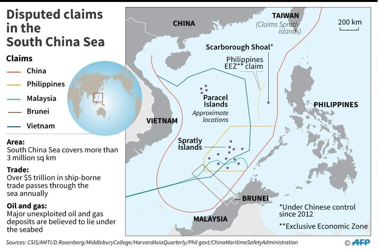 Map showing disputed claims in the South China Sea. (Source: AFP News)