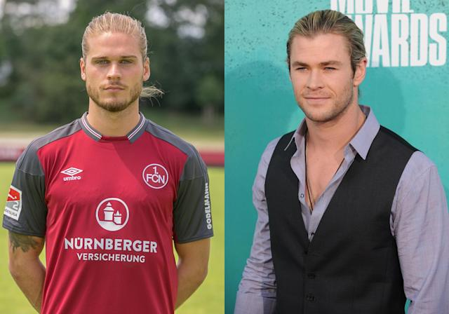 <p>Iceland's Rurik Gislason and <em>Thor</em> actor Chris Hemsworth </p>