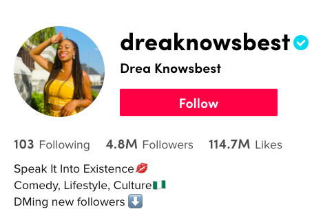 Drea Okeke has millions of followers on TikTok, but that fanbase hasn't translated equally onto other platforms.