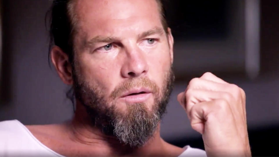 Ben Cousins answering questions in a Channel 7 interview.