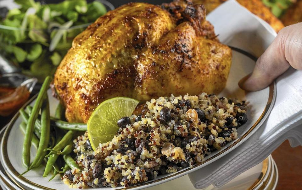 "<p>If you truly love the flavors of citrus, this punchy roasted Cornish game hen recipe is for you. It uses the juices from grapefruit, limes and lemon for a zesty flavor.</p> <p><a href=""https://www.thedailymeal.com/best-recipes/citrus-ancho-garlic-and-honey-glazed-cornish-hens?referrer=yahoo&category=beauty_food&include_utm=1&utm_medium=referral&utm_source=yahoo&utm_campaign=feed"" rel=""nofollow noopener"" target=""_blank"" data-ylk=""slk:For the Three Citrus, Ancho, Garlic and Honey-Glazed Cornish Hens recipe, click here."" class=""link rapid-noclick-resp"">For the Three Citrus, Ancho, Garlic and Honey-Glazed Cornish Hens recipe, click here.</a></p>"
