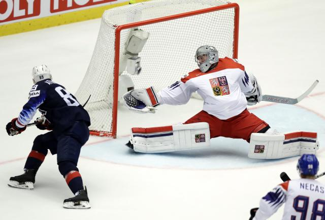 Ice Hockey - 2018 IIHF World Championships - Quarterfinals - USA v Czech Republic - Jyske Bank Boxen - Herning, Denmark - May 17, 2018 - Cam Atkinson of the U.S. scores. REUTERS/David W Cerny