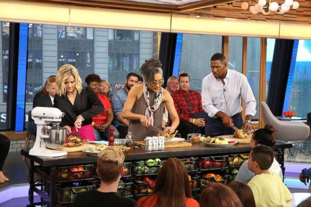 PHOTO: Carla Hall makes 'wine-can' chicken on 'GMA Day.' (ABC News)