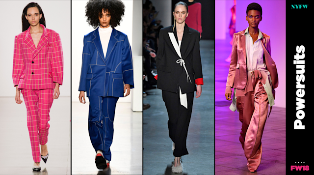 At NYFW, pantsuits are a big trend for fall. (Photo: Getty/Art: Quinn Lemmers)