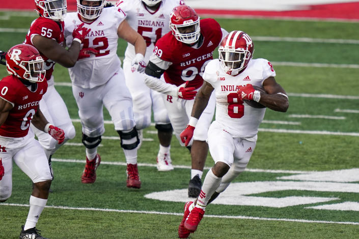 Indiana running back Stevie Scott III (8) carries during the second quarter of the team's NCAA college football game against Rutgers, Saturday, Oct. 31, 2020, in Piscataway, N.J. (AP Photo/Corey Sipkin)