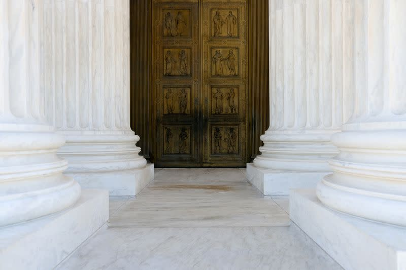 A general view shows the front doors of the U.S. Supreme Court building the day after Election Day in Washington