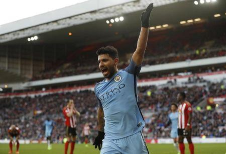 Manchester City's Sergio Aguero celebrates scoring their first goal