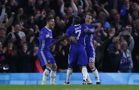 Chelsea's N'Golo Kante celebrates scoring their first goal with Cesar Azpilicueta and Eden Hazard