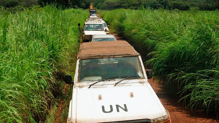 Convoy of United Nations vehicles en route to Bokalanga, Central African Republic