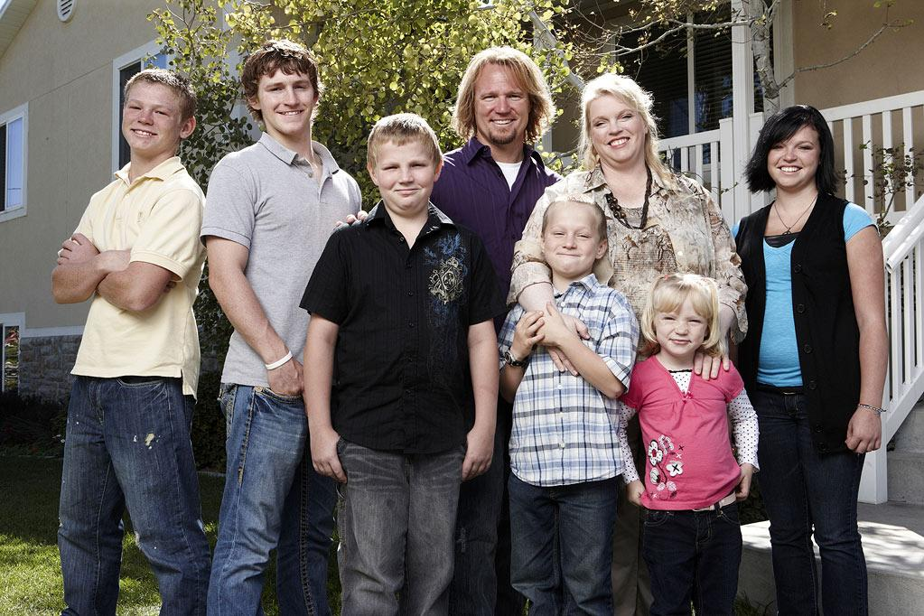 "Kody and Janelle with children Hunter, Logan, Garrison, Gabriel, Savanah and Madison as seen on ""Sister Wives."""