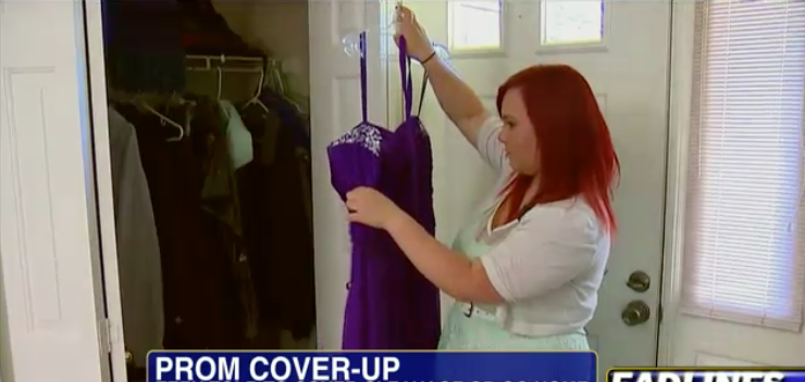 This teen was forced to cover up with a shawl when she wore this to her prom in 2013. Photo: Fox News