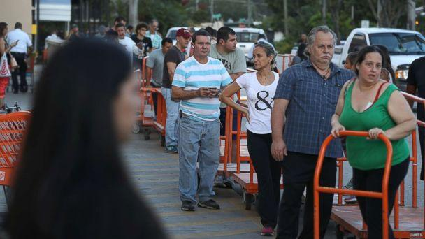PHOTO: People wait in line to purchase plywood at The Home Depot as they prepare for Hurricane Irma, Sept. 6, 2017, in Miami. (Joe Raedle/Getty Images)