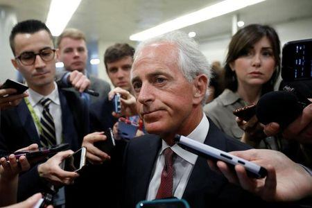 FILE PHOTO: Sen. Bob Corker (R-TN) speaks to reporters on Capitol Hill in Washington, D.C., U.S. May 16, 2017.  REUTERS/Aaron P. Bernstein/Files