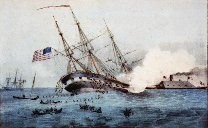 "Detail of ""The sinking of the ""Cumberland by the iron clad ""Merrimac"", off Newport News Va. March 8th 1862,"" by F. Newman, Newport News, Va."