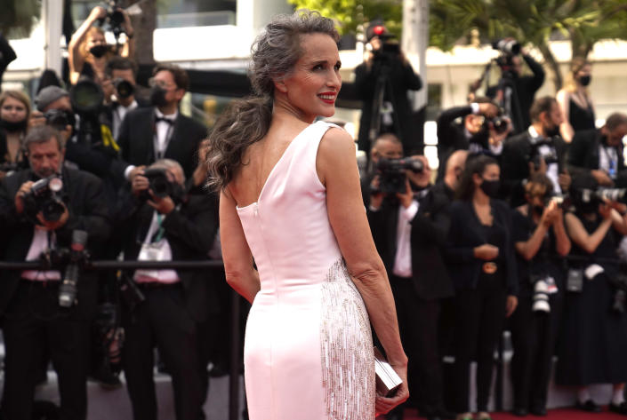 Andie MacDowell at the premiere of 'Everything Went Fine' at Cannes - Credit: AP.