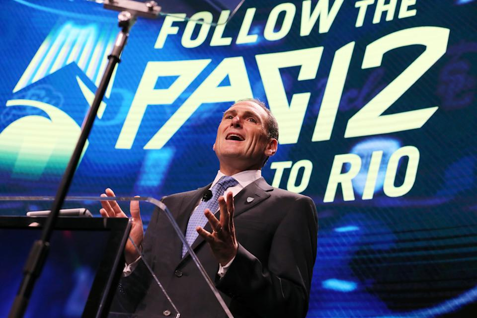 Pac-12 commissioner Larry Scott speaks at the Pac-12 NCAA college football media day in Los Angeles in 2016. (AP file photo)