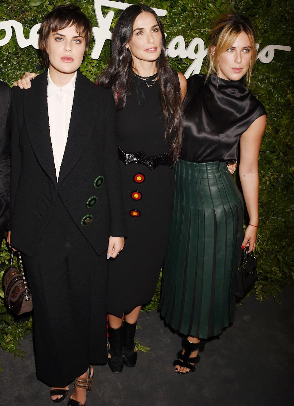 <p>Moore and her two youngest girls made an appearance at the opening of the Salvatore Ferragamo Boutique on Rodeo Drive looking totally chic in three very different outfits. Despite their differences, there's no denying that these three definitely share the same gene pool. </p>