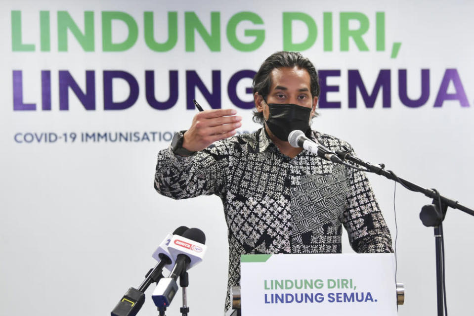 Minister of Science, Technology and Innovation Khairy Jamaluddin had previously claimed the Penang government had fallen for a scam after a man named Yong Chee Kong had offered to sponsor two million Sinovac vaccine doses to the Pakatan Harapan-led state. — Bernama pic