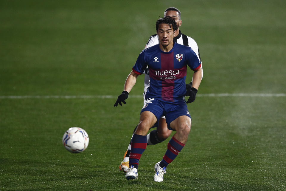Shinji Okazaki in action for LaLiga Santander side SD Huesca.