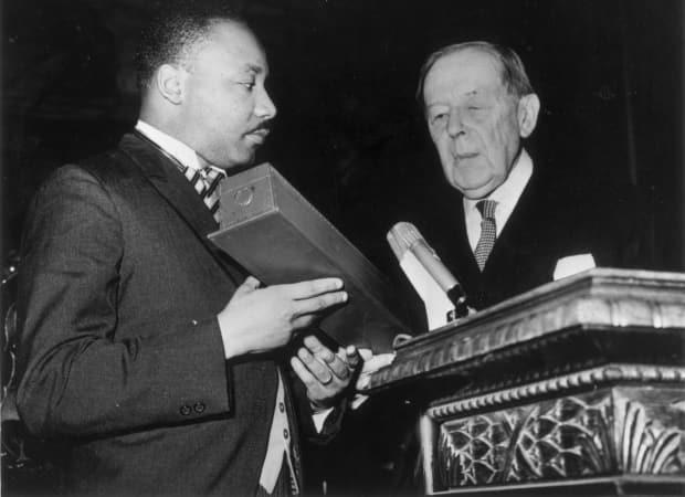 Atlanta has a history of corporate activism, which opponents of this bill are aware of. Coca-Cola, headquartered in the city, demanded that local officials throw a celebration for Martin Luther King winning the 1964 Nobel Peace Prize. Here he receives the prize in Norway.