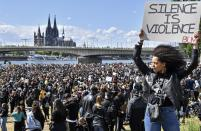 Thousands of people demonstrate in Cologne, Germany, June 6, 2020, to protest against racism and the recent killing of George Floyd by police officers in Minneapolis. (AP Photo/Martin Meissner)
