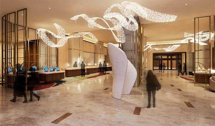 "An artist's rendering of the lobby of the new Las Vegas Hilton, part of the Resorts World development along the Strip. <span class=""copyright"">(Resorts World)</span>"