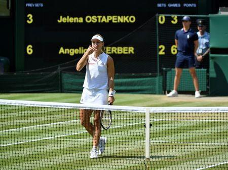 Tennis - Wimbledon - All England Lawn Tennis and Croquet Club, London, Britain - July 12, 2018 Germany's Angelique Kerber celebrates winning her semi final match against Latvia's Jelena Ostapenko REUTERS/Toby Melville