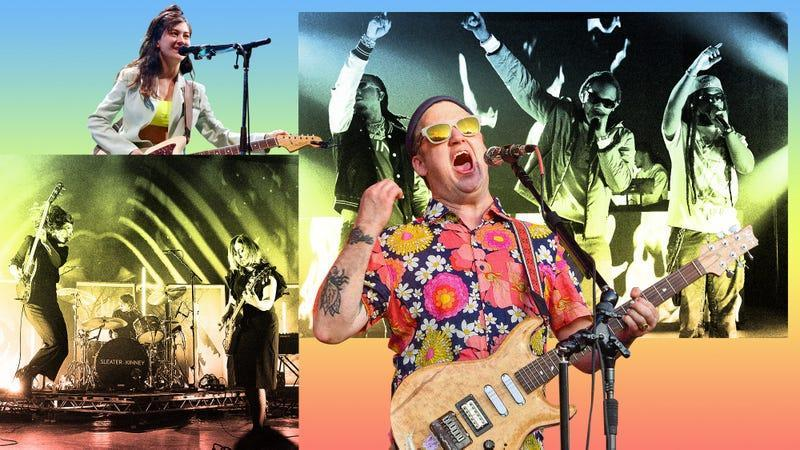 Clockwise from bottom left: Sleater-Kinney (Photo: Gus Stewart/Getty Images), Japanese Breakfast (Photo: Ethan Miller/Getty Images), Migos (Photo: Gerardo Mora/Getty Images), Modest Mouse (Photo: Erika Goldring/Getty Images)