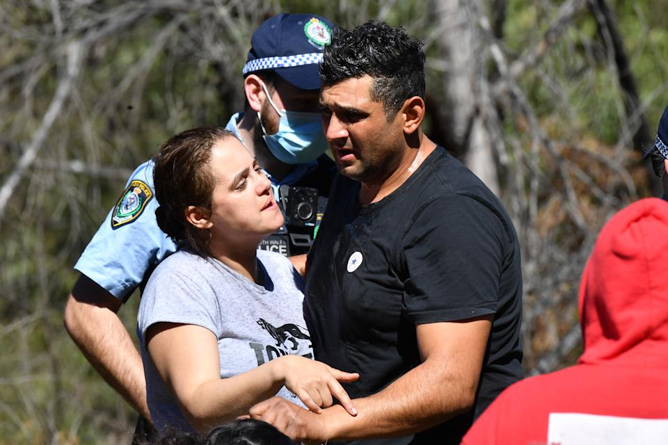 An emotional Anthony and Kelly Elfalak after learning AJ had been found alive. Source: AAP