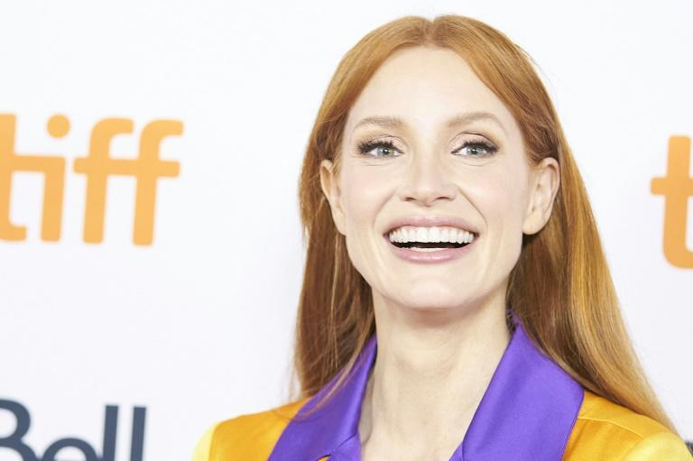 """Jessica Chastain's """"The Eyes of Tammy Faye"""" had its world premiere in Toronto (AFP/Geoff Robins)"""