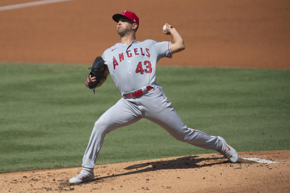 Los Angeles Angels starting pitcher Patrick Sandoval delivers during the first inning of a baseball game against the Los Angeles Dodgers in Los Angeles, Sunday, Sept. 27, 2020. (AP Photo/Kyusung Gong)