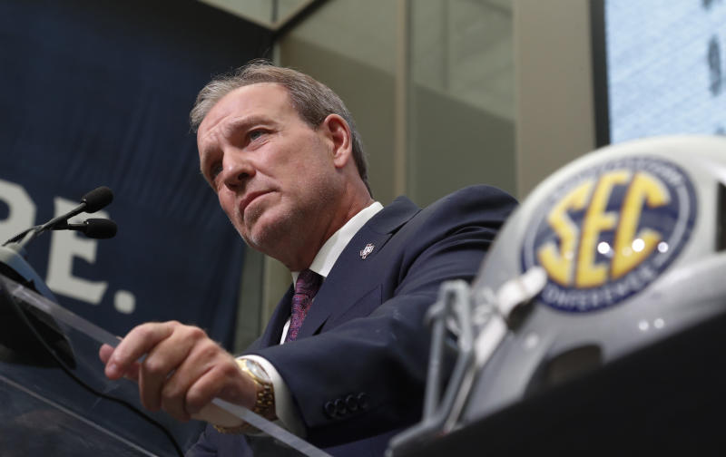 Texas A&M head coach Jimbo Fisher speaks during NCAA college football Southeastern Conference media days at the College Football Hall of Fame in Atlanta, Monday, July 16, 2018. (AP Photo/John Bazemore)