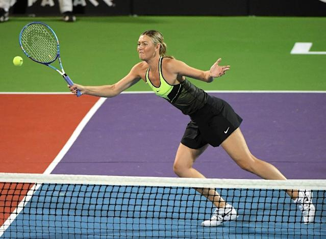 Tennis player Maria Sharapova competes in the World TeamTennis Smash Hits charity tennis event benefiting the Elton John AIDS Foundation at Caesars Palace on October 10, 2016 in Las Vegas (AFP Photo/Ethan Miller)