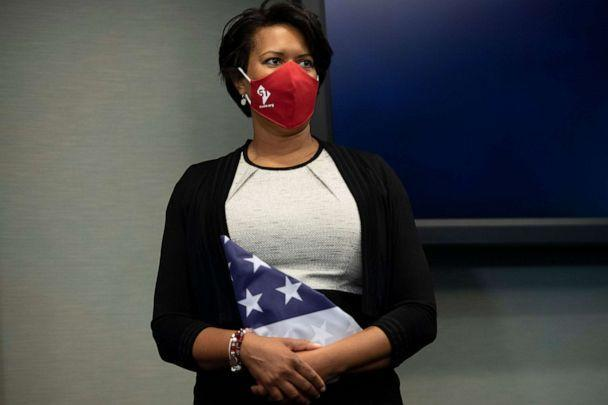 PHOTO: Washington D.C. Mayor Muriel Bowser holds an American flag with 51 stars during a press conference on Capitol Hill, June 16, 2020. (Brendan Smialowski/AFP via Getty Images, FILE)