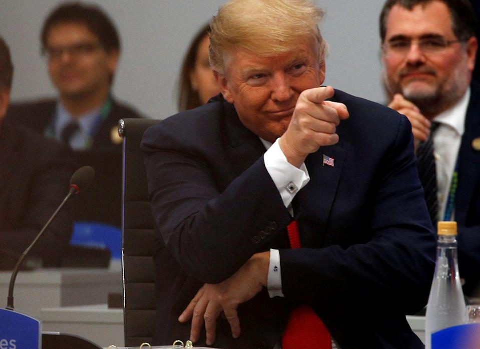 U.S. President Donald Trump points a finger during a special session entitled 'Fair And Sustainable Future' as part of G20 Leaders Summit in Buenos Aires, Argentina on November 30, 2018. (Photo: Murat Kaynak/Anadolu Agency/Getty Images)