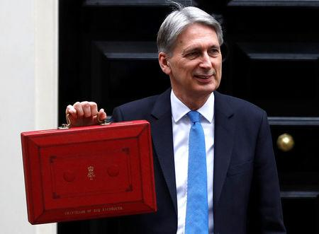 Britain's Finance Secretary Philip Hammond leaves Downing Street on his way to deliver his budget statement to parliament, London