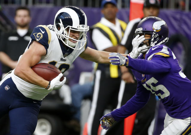 "<a class=""link rapid-noclick-resp"" href=""/nfl/players/30182/"" data-ylk=""slk:Cooper Kupp"">Cooper Kupp</a> highlights this week's look at whom to sit and start in fantasy leagues (AP Photo)."