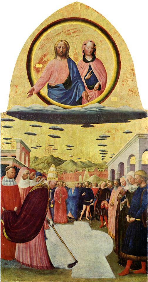 Painted by Masolino da Panicale, the Miracle of the Snow portrays the legend of snowfall that happened on a hot summer day in Rome in the fourth century. Jesus and Mary seem to be overlooking the incident from the top of a cloud, but behind them are a lot of disc shaped objects. These objects could be thought of as clouds but for a painter who pays extensive attention to details, such simplistic depiction of clouds doesn't quite seem right.