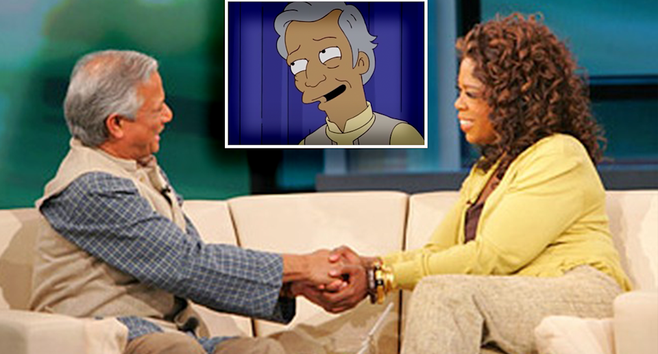 Professor Yunus sitting on a couch with Oprah Winfrey. Inset - Professor Yunus's face on The Simpsons