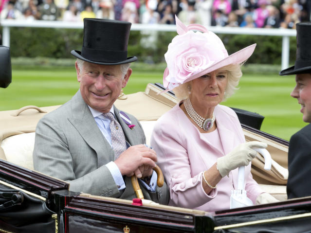 ASCOT, ENGLAND - JUNE 14: Camilla, Duchess of Cornwall and Prince Charles, Prince of Wales ,attend the first day of The Royal Ascot race meeting on June 14, 2016 in Ascot, England.(Photo by Julian Parker/UK Press via Getty Images)