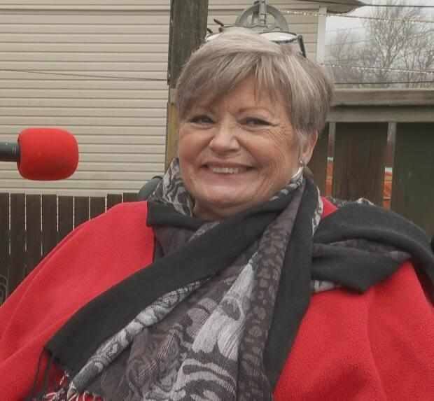 Betty Collins has been confined to her home and her rear patio since February. Before that, she was stuck in hospital for five months following back surgery because her home was completely inaccessible. (Bruce Tilley/CBC - image credit)
