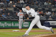 New York Yankees pitcher Brody Koerner delivers in the eighth inning of the team's baseball game against the Baltimore Orioles, Tuesday, Aug. 3, 2021, in New York. (AP Photo/Mary Altaffer)