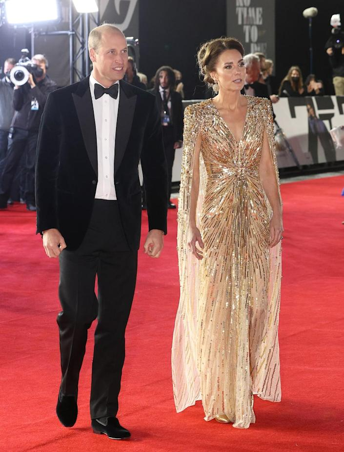 """<div class=""""inline-image__caption""""><p>""""LONDON, ENGLAND - SEPTEMBER 28: Catherine, Duchess of Cambridge and Prince William, Duke of Cambridge attends the """"No Time To Die"""" World Premiere at Royal Albert Hall on September 28, 2021 in London, England.</p></div> <div class=""""inline-image__credit"""">Chris Jackson/Getty Images</div>"""