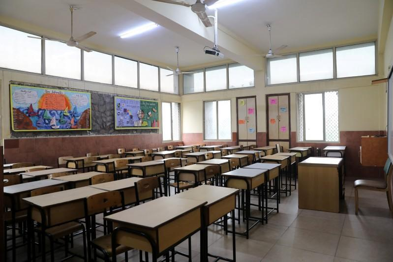 An empty classroom of a school is seen after the school remained closed on account of smog in New Delhi